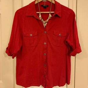 Style & Co Red Button-down Utility Shirt